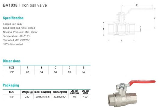 Iron Ball Valve Sand Blast BV1038 pictures & photos