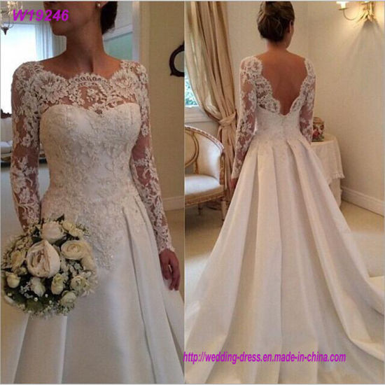 8d4811aedffd Backless Mariage Vintage Wedding Dress 2018 Long Sleeve Court Train Satin  Lace Wedding Dresses Custom Made Size