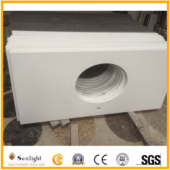 Solid Surface Engineering Pure White Quartz Stone for Kitchen Countertop