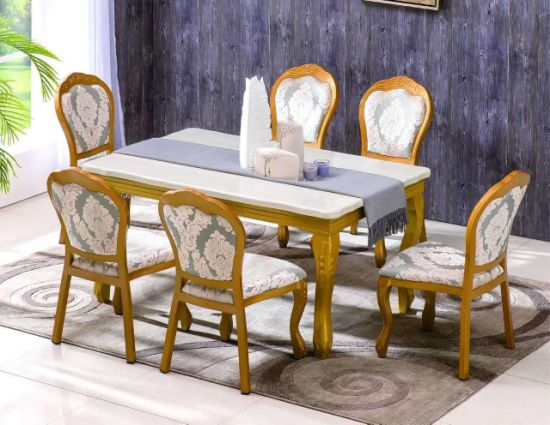 French Style Dining Room Classic Designs Heavy-Duty Aluminium Banquet  Dining Vintage Golden Chair