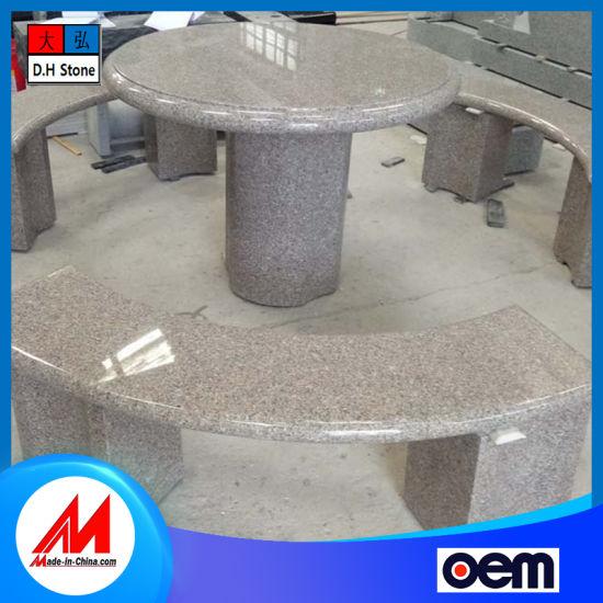 Customizable Chinese Polished Light Grey Granite Garden Stone Bench