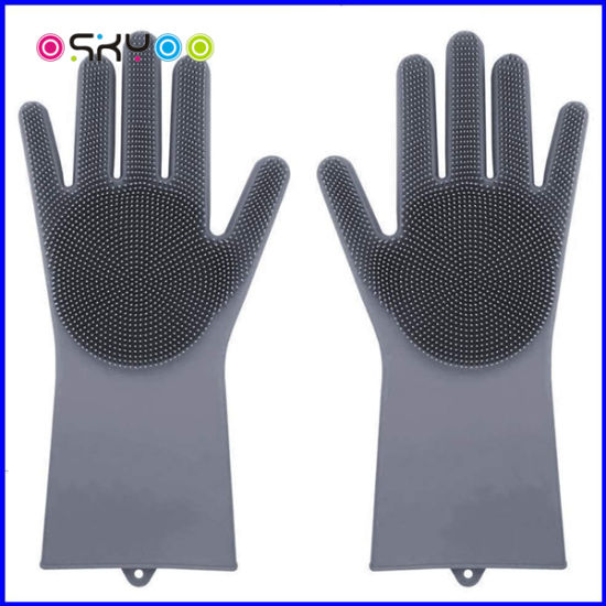 Kitchen Tool Silicone Rubber Scrubber Cleaning Dishwashing Gloves