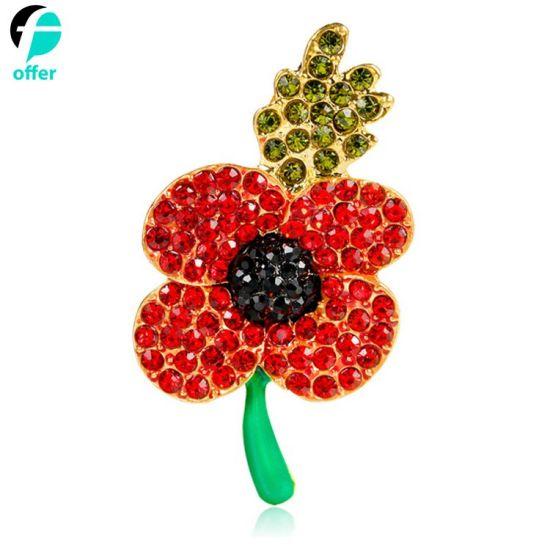 China Rhinestone Poppy Flower Brooch Lapel Badge Brooches China