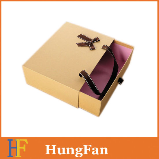 Factory Wholesale Lamination Drawer Gift Packing Box with Ribbon Handle