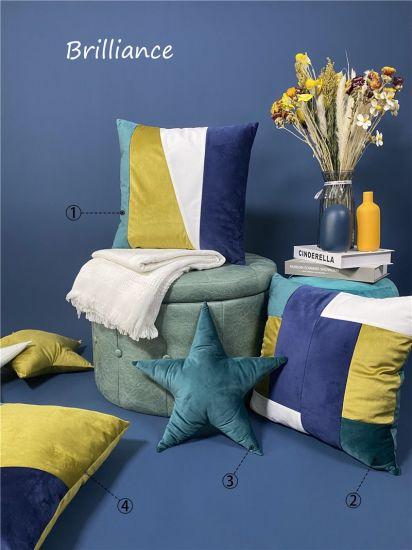 Patchwork Velvet Sofa Cushions / Color Pillows Home Decorative Cushions