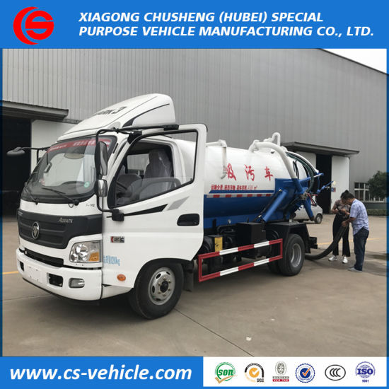 Foton Sewage Suction Truck 5000L Vacuum Sewer Cleaning Truck