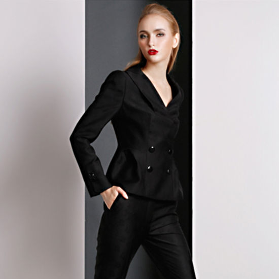 China 100 Polyester Two Piece Suit Black Wholesale Women Church