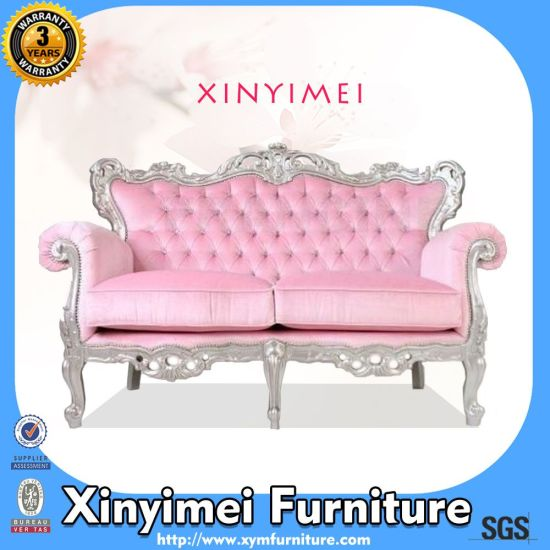 China New Design Fabric Two Seat European Style Wooden Sofa (Xym ...