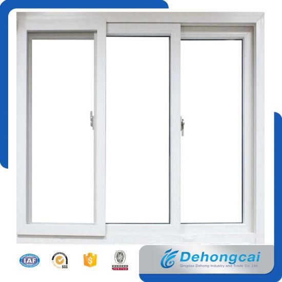 White China Standard UPVC / PVC Plastic Frame Double Glass Window ...