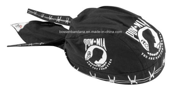 OEM Produce Customized Logo Printed Promotional Black Cotton Biker Skull Hat Caps