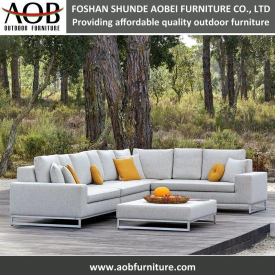 White Fabric Outdoor Garden Furniture Aluminum Frame Corner Lounge Sofa Set