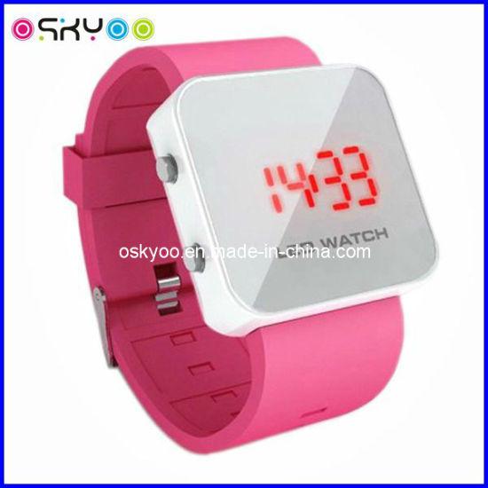 Fashion Ladies Mirror Glass Sport LED Watches (P5110)