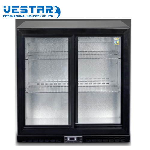 Double Glass Door Showcase with R134A Refrigerant pictures & photos