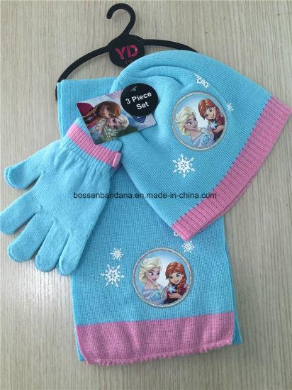 509939cb Factory Produce Custom Cartoon Print Kids Knitted Beanie Scarf Gloves Set