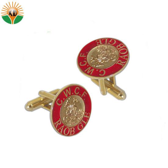 Hot Sale Fashion Enamel Logo Metal Gold Cufflinks