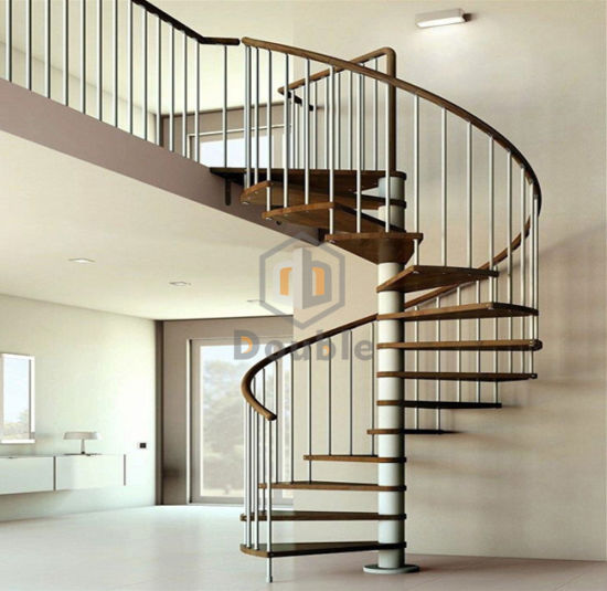 Indoor Wood Handrail Spiral Staircase With Stainless Steel Railing