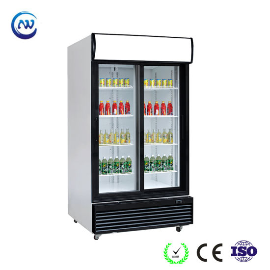 Double Sliding Glass Door Vertical Upright Display Cooler Soft Drink Beverage Commercial Refrigerator with Light Canopy (LG-1000BFS) pictures & photos