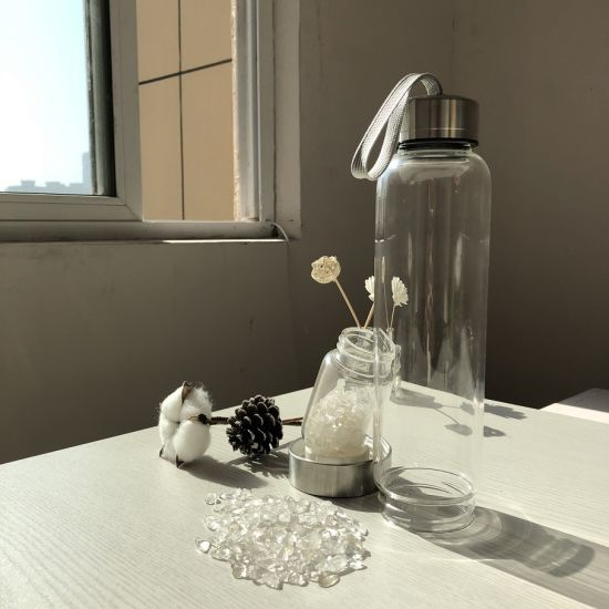 Wholesale New Quartz Natural Stone Infused Energy Crystal Water Glass Bottle