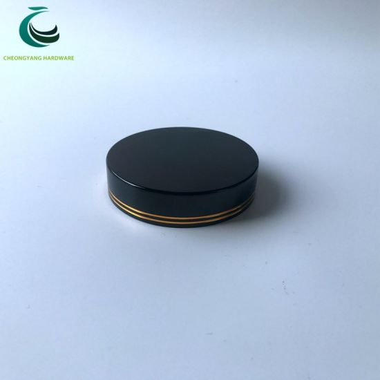 Cosmetic Packaging Two Lines Gold Silver Black Aluminum Cap Lid for Bottles and Jars pictures & photos