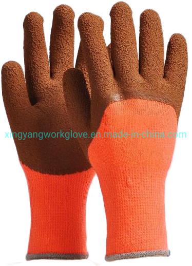 7g Acrylic Fleece Liner Coated Latex Foam Soft Winter Work Safety Glove