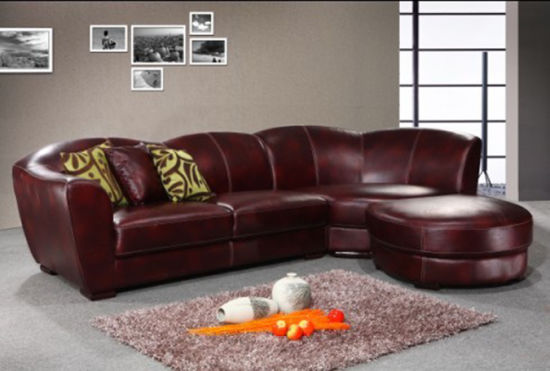 Hotel Furniture Leather Curved Corner Sofa Sets