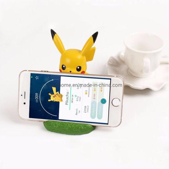 Promotion Gift Custom Resin Cartoon Figure Pikachu Mobile Phone Holder
