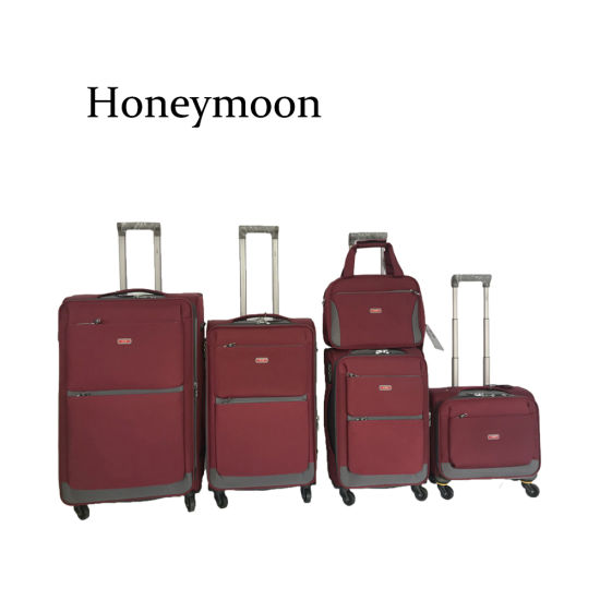 Nylon Material 4 Wheels Softside Trolley Luggage Set pictures & photos