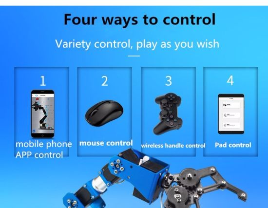 China Hot Selling 6dof Full Metal Robotic Arm with Free PC Software