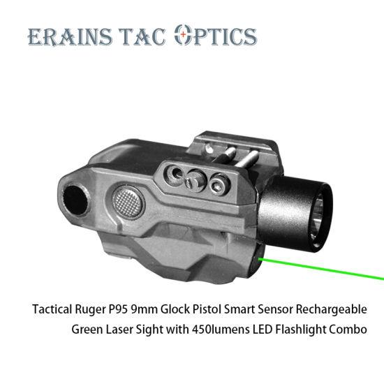 2020 New Tactical Smart Sensor 450 Lumens Green Laser Flashlight Rechargeable Gun Sight Ruger P345 Laser Sight for Weapons Self Defense