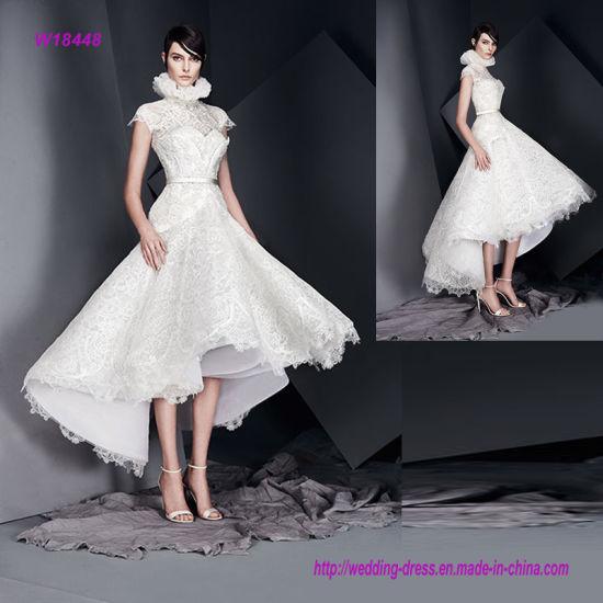 63abdf7ecb7 Impressive High Neckline Cap Sleeves Wedding Gown with Flare Tea Length  Skirt