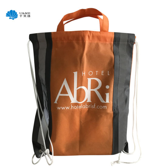 Promotional Custom Cheap Non Woven Drawstring Wholesale Backpack Bag with Reflective Stripe