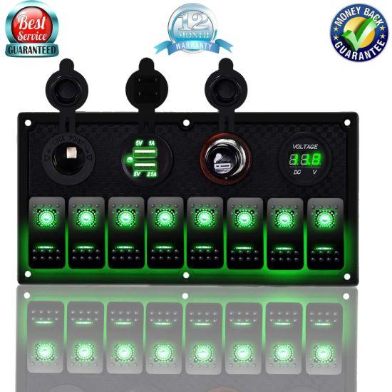 Car Marine Boat 3 Terminal 8-Gang Waterproof LED Rocker Combination Switch Panel