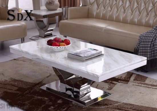 Simple Design Marble Top Polished Stainless Steel Coffee Table Living Room  Table