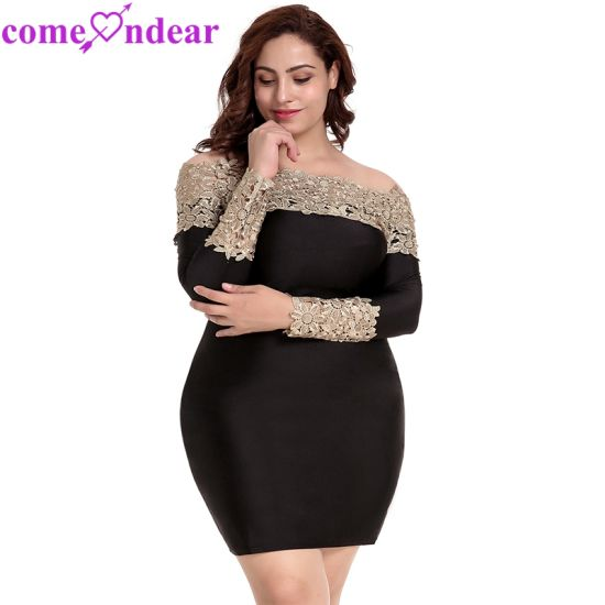Plus Size Long Sleeve off-Shoulder Fashion Lace Dress ...