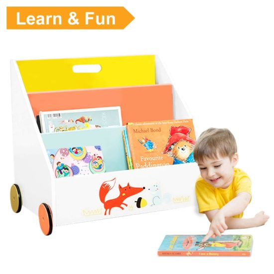 Children Wooden Toy Furniture Bookshelf Kids Storage Study Bookshelf