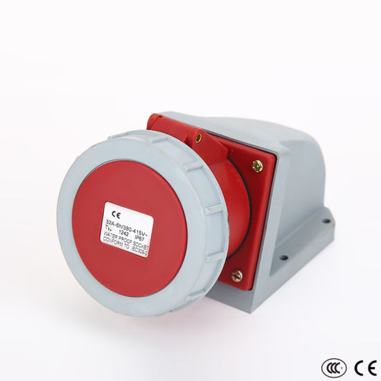 IP67 32A Industrial Plug Socket with Lock 3p+E 1242 Wall Mounted