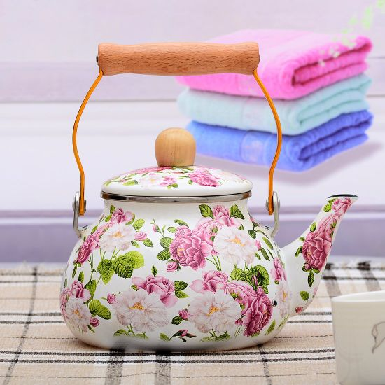 2L Top Quality Full Printing Decals Enamel Kettle/Teapot with Wooden Handle