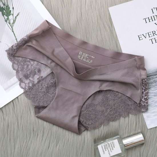 Wholesale Silk Satin Women Briefs Ladies Ice Silk Seamless Lace Underwear