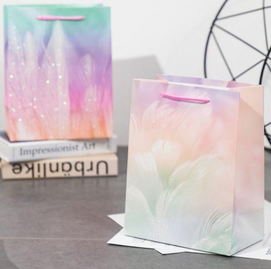 Custom Logo High-Grade White Card Paper Bag Tote Bag with Glitter