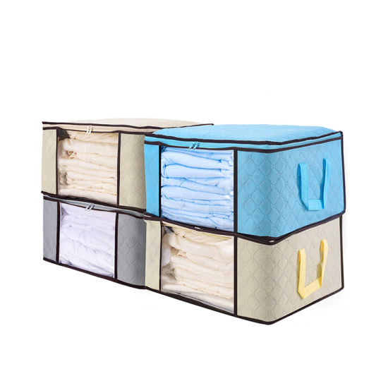 Foldable Multifunctional Handle Clothes Blanket Storage Bedding Bags with Clear Window