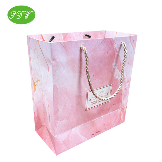 Pink Marble Printed Paper Christmas Gift Bag with Ribbon Handle