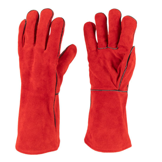 Cow Split Leather Red Welted Heat Resistant Welding Glove for Welding Industry (6504. RD) pictures & photos