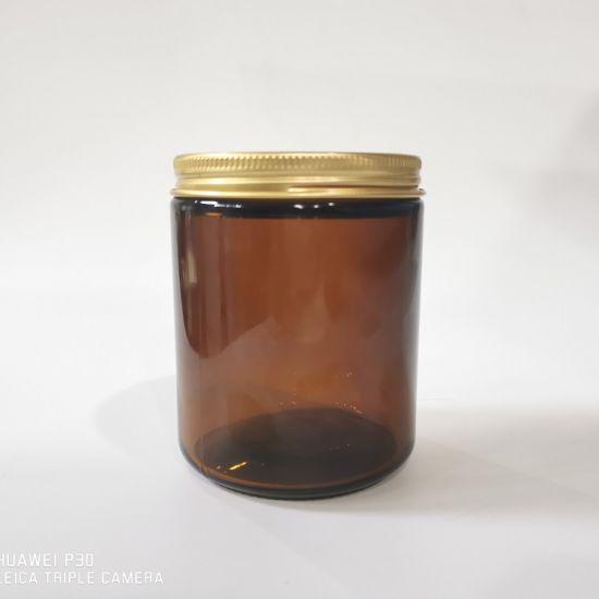 8oz 240ml Amber Glass Jar Candle Jar with Gold Metal Lid