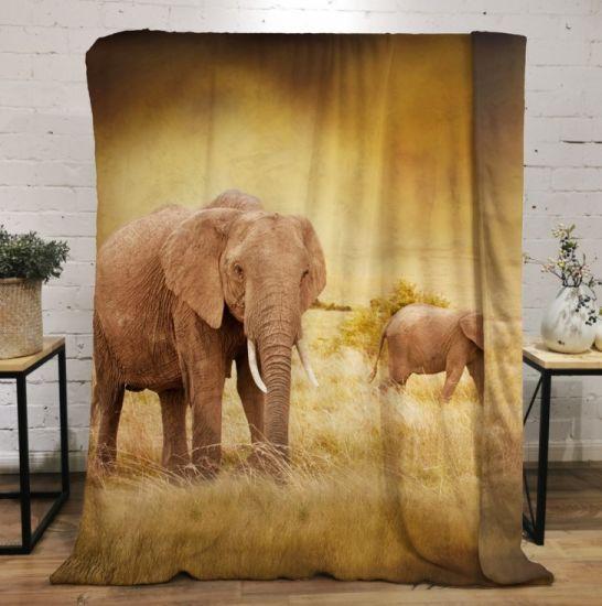 3D Printing Customized Blankets Fleece for Sofa Bed Elephant Animal