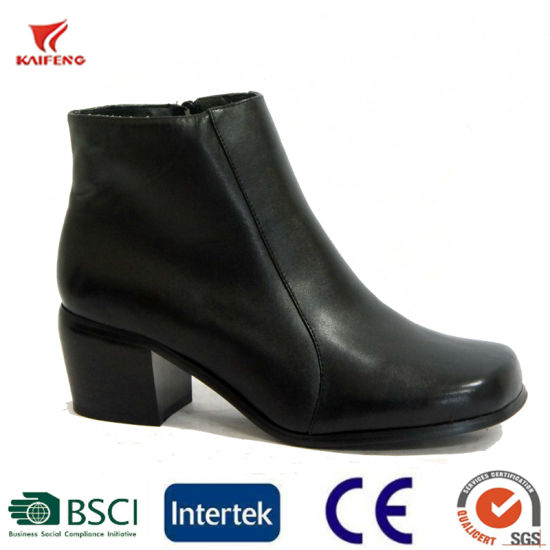 Genuine Leather Uniform Ankle Boots Women Work pictures & photos