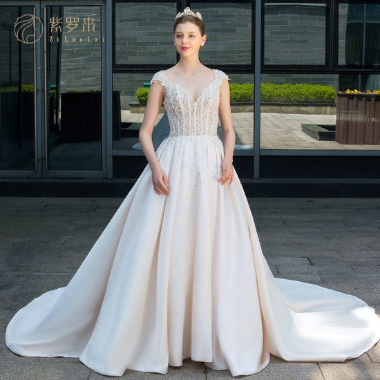 a5ce74484a7 China Satin Beaded A Line Prom Elegant Wedding Dress Bridal Gown ...