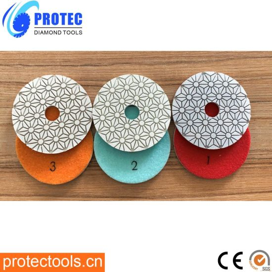100mm 3 Step Wet&Dry Resin Bond Diamond Polishing Pad for Granite/Marble/ Concrete/Engineer Stone/Quartz