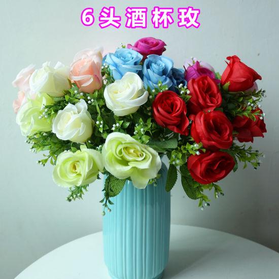 6 Heads Artificial Silk Rose Flowers Bouquet Wedding Party Home Decors