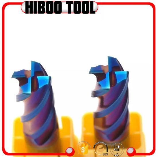 HRC65 Tungsten Carbide Square End Mill Blue Nano Coating