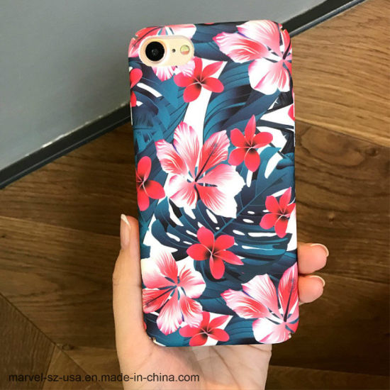 Fashion Cherry Flower Leaf Painting Phone Case for iPhone 6 6s Plus 7 7plus 8 8plus X